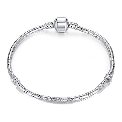 Pulsera Brazalete, Joyeria Regalo, New Hot Silver Plated Basic Snake Chain Bracelet DIY Charm Bead Jewelry Not Fade Original Pan Bracelets & Bangles Silver Bracelet 21CM (8.3 Inch)