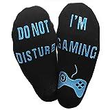 Himozoo 'Do Not Disturb I'm Gaming' Socks for Men Women,Funny Saying Knitting Word Combed Cotton Gamer Socks- Novelty Gift For Gamers