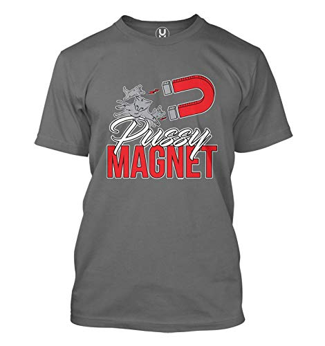 Pussy Magnet - Cat Kitten Pun Funny Handsome Men's T-Shirt (Charcoal, Medium)