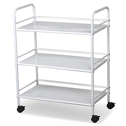 World Pride Rolling Salon Trolley Cart, 3 Tier, White