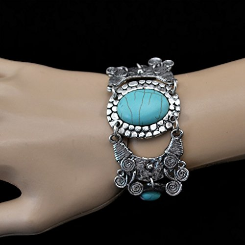 Hellery Vintage Armband, Türkis Armkette, Charm Manschette Armreif, Boho Armspangen, Mode Armschmuck, Weihnachten Geschenk