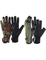 Leyal 4pcs/2pair Sport Leather Keep Warming Outdoor Fishing Three Fingers Cut Non-Slip Gloves Neoprene Camo Fishing Gloves Folding Finger Hunting Hiking-Windproof