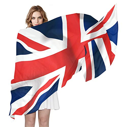 MAHU Scarf UK British Flag Pattern Fashion Lightweight Sheer Shawl Wrap Long Muffler for Women
