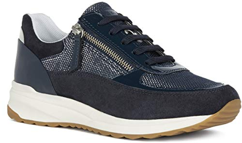 GEOX Airell A - Suede Shiny Text - Azul Cuero