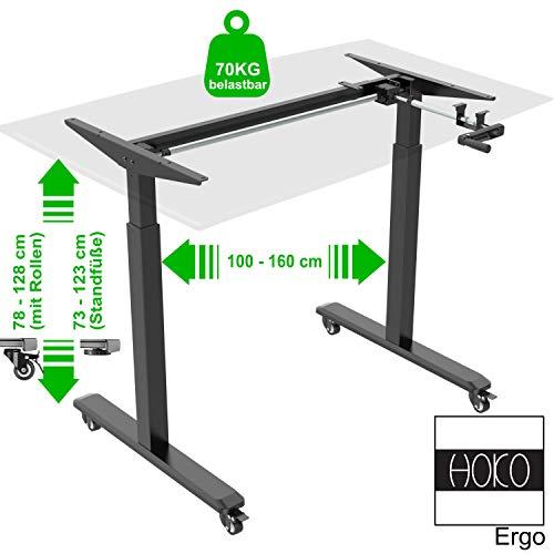 HOKO® Ergo-Work-Table Höhenverstellbarer Schreibtisch Basic Schwarz, manuell höhenverstellbar, für Tischplatten ab 2,5cm. Inkl. Rollen und Standfüße. Ergonomisches Arbeiten im Sitzen und im Stehen!