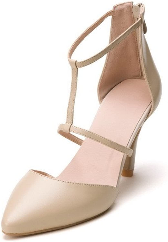 AmoonyFashion Women's High-Heels Soft Material Solid Zipper Closed Toe Sandals