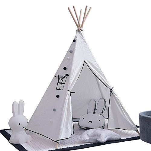 Kids Tent Children's Play Tent Tipi Children's Play House Children / Indoor Foldable Tipi Tent Interesting Home Decoration Indoor and Outdoor Games ( Color : White , Size : 110x110x170cm )