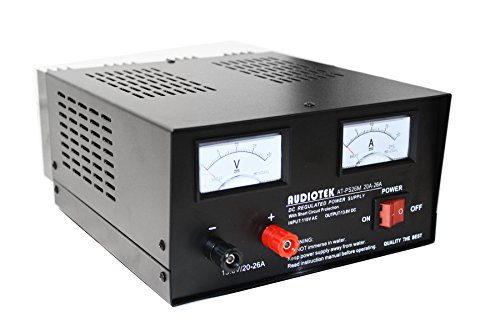 Audiotek - AT-PS26M Output 20A-26A Amp Mobile 13.8 Volt DC Heavy Duty Power Supply Good for Home/Office/Installer/Party/Entertainment/Radios/Scanners/HAM Radios/Auto Sound Systems