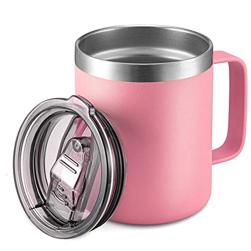 12oz Stainless Steel Insulated Coffee Mug with Handle, Double Wall Vacuum Travel Mug, Tumbler Cup with Sliding Lid, Pink
