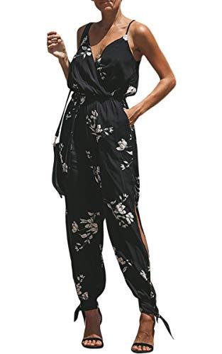 ECOWISH Damen Jumpsuit V Ausschnitt Overall Blumen Ärmellos Playsuit Split Hosenanzug Romper Frühling Sommer 033 Schwarz M