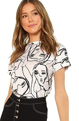 SheIn Women's Round Neck Short Sleeve Tops Cartoon Printed T Shirts Medium White