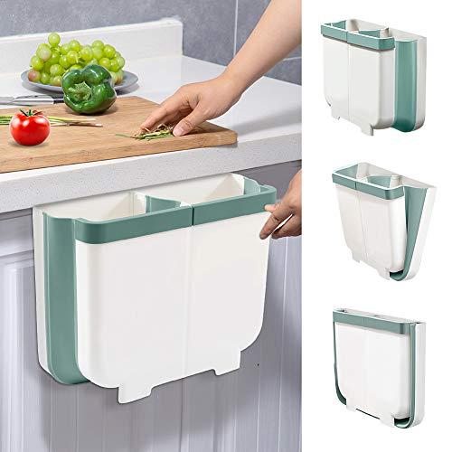 TTMOW Cubos de Basura Plegable Colgando 2 en 1 con 2 Compartimentos para Cocina, Sala, Dormitorio, Oficina, Baño, 13L (Blanco y Verde)