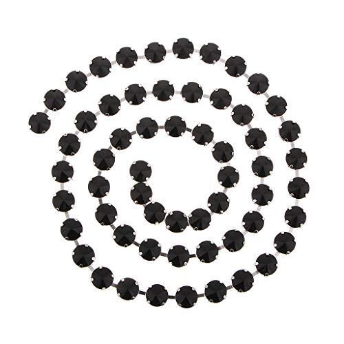 Hellery Collar de Cristal de Diamantes de Imitación con Ribete de Diamantes de Imitación de Cuerda de Cinturón de Cadena Cerrada de 1 Yarda para Mujer - Negro, Individual