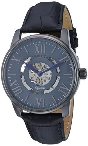 Invicta Relógio masculino Objet D Art de aço inoxidável com pulseira de couro, preto, 21 (modelo: 22602)