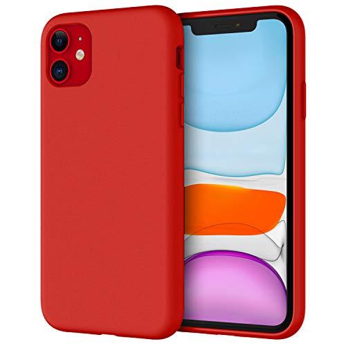 JETech Silicone Hülle für iPhone 11 (2019) 6,1-Zoll, seidigem Ganzkörper-Schutzhülle Hülle Cover, mit weichem Mikrofaser-Innenfutter stoßfestes Abdeckung (Rot)