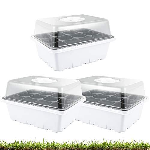 3 bandejas de arranque para plantas, bandejas para plantas con cúpulas ventiladas, kit de propagación para plantas en invernadero (12 celdas para bandeja, 3 unidades)
