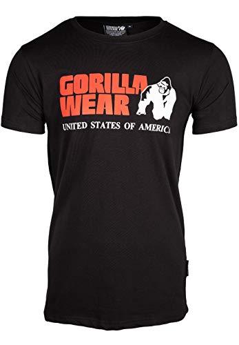 GORILLA WEAR Classic T-Shirt - schwarz - klassisches Oberteil mit Logo zum Sport Alltag Training Workout Laufen Joggen bequem Normale Passform leicht aus Baumwolle bewegungsfreiheit groß, XL