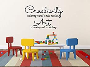 BYRON HOYLE Creativity is Allowing Yourself to Make Mistakes Childrens Wall Decal Vinyl Wall Quote Kids Art Display Quote Vinyl Lettering Playroom Decor