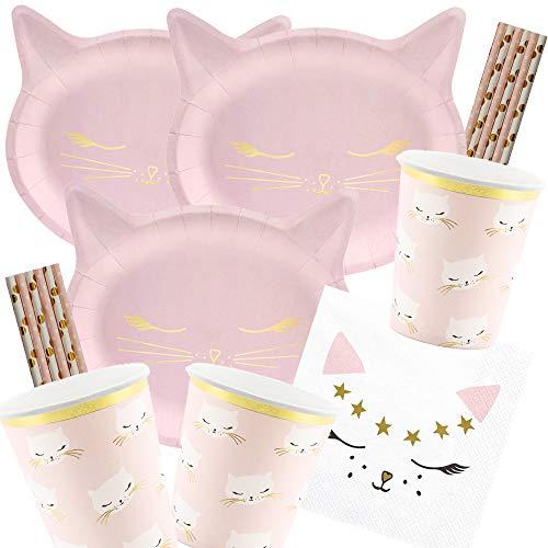 spielum 56-teiliges Party-Set Katze - Kätzchen - Teller Becher Servietten Trinkhalme für 12 Kinder