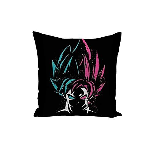 Fabulous Funda de Cojín Dragon Ball Son Goku Super Saiyan Azul y Rosa en el Fondo Negro Anime Manga Japón 40x40cm