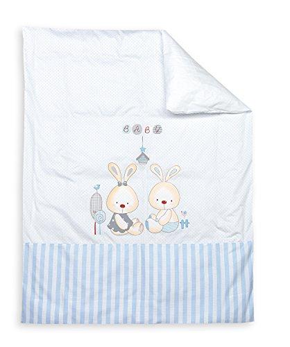 INTERBABY 91514-01 hoes voor donzen dekbed en kussens mod konijnen-baby, blauw