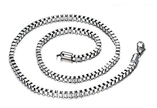 ANAZOZ roestvrij stalen halsketting voor heren en dames, halsketting met hanger, zilveren box, gepolijst, 0,3 x 61 cm