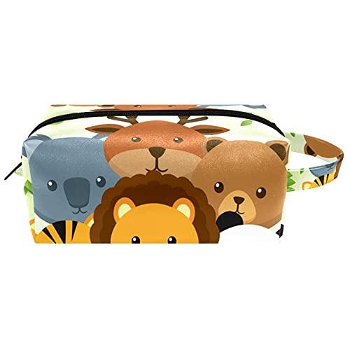 Silueta de animales africanos amarilla, bolsa de almacenamiento de cosméticos con cremallera, bolsa de maquillaje para colgar neceser de maquillaje, impermeable, bolsa de viaje para niñas y niños