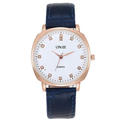 JZDH Relojes para Mujer Relojes de Mujer Relojes de Rhinestone Reloj de Cuero Reloj de Pulsera Reloj de Cuarzo Casual para Mujer Vestido Regalo Amigo Relojes Decorativos Casuales para Niñas Damas