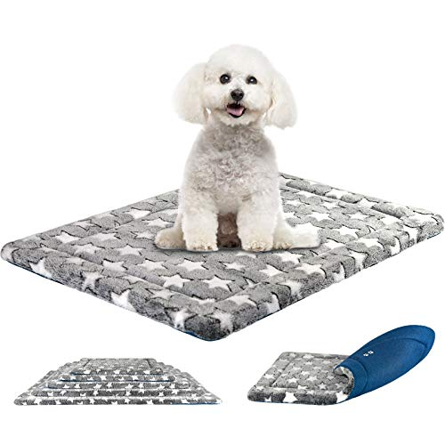 KROSER Almohadilla para Perros Colchoneta Reversible Colchón para Mascotas Elegante 61 cm Almohadilla de Esponja de Alta Densidad Lavable a Máquina Cama para Perros Pequeños y Gatos de hasta 11.3kg
