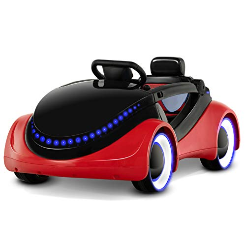 Uenjoy Electric Kids Ride On Cars 6V Battery Motorized Vehicles with Remote Control, LED Lights, Music, Story Playing, Safety Lock, Red