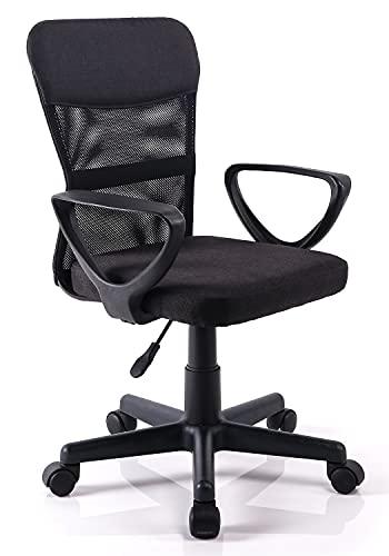 Exofcer Silla de Escritorio giratoria de Malla de Respaldo Medio para Oficina en casa (Negro)