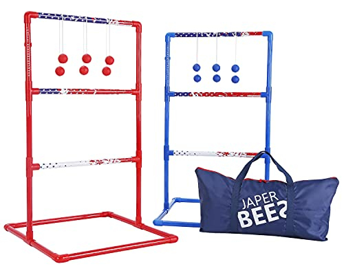 JAPER BEES Ladder Ball Indoor Ladder Toss Outdoor Game Set PRO Series, Family, Party, Beach Games and Lawn Games with Unique Soft Bolos, Heavy Duty Bars and Travel Bag(Patriotic)