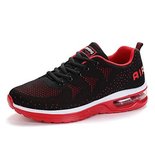 Zapatillas de Deporte Hombre Mujer Running Bambas Ligero Zapatos para Correr Respirable Calzado Deportivo Andar Crossfit Sneakers Gimnasio Moda Casuales Fitness Outdoor Blackred01 42