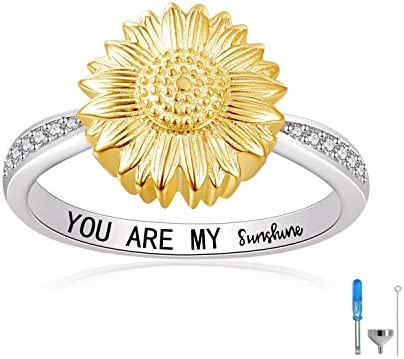 Sunflower Urn Ring You are My Sunshine 925 Sterling Silver Keepsake Memorial Cremation Urn Ring product image