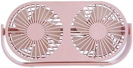 SHYPYG Couple Fan Air Cooling Dual Motor Head Folding USB Fan 360 Degree Rotation Adjustable Speed Portable Fan (Color : P...