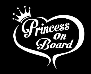 Princess On Board Heart NOK Decal Vinyl Sticker  Cars Trucks Vans Walls Laptop White 5.5 x 4.8 in NOK073