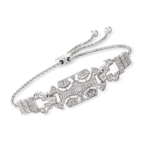 Ross-Simons 0.25 ct. t.w. Diamond Art Deco-Style Bolo Bracelet in Sterling Silver (0.25 Ct Art)