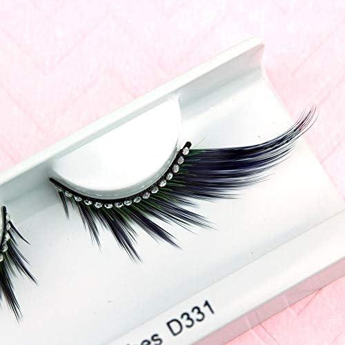 Elegant Lashes D331 Long Black Blue Green Mix Rhinestone False Eyelashes Halloween Dance Rave product image