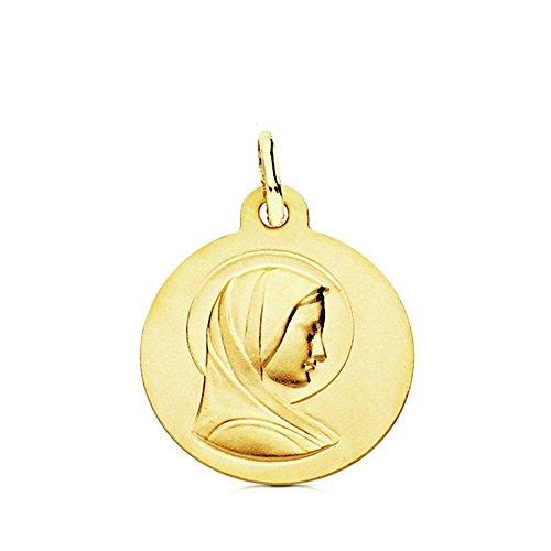 Medalla oro 9k lisa Virgen María Francesa 16mm. ligera [AB3241GR] - Personalizable - GRABACIÓN INCLUIDA EN EL PRECIO