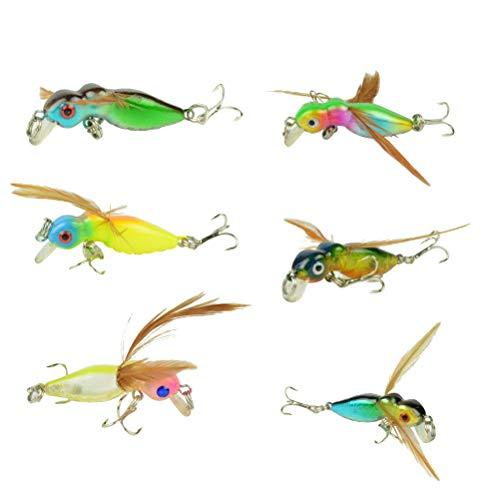 LIOOBO 6pcs cebos de señuelos de Pesca truchas Moscas de Pesca con Mosca secas Señuelos de Gancho de Agudos de Metal Duro (Color Aleatorio)