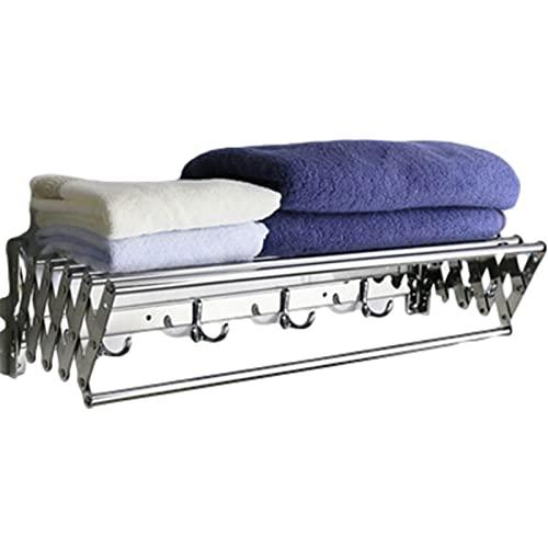 GUOYUN Extensible retráctil Tendedero de Ropa Tendedero - Toallero de 7 Barras para Prendas para Colgar en el baño Secadora Tendedero (Color : Silver, Size : 40cm)