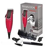 Remington Apprentice Máquina de Cortar Pelo - Cortapelos con Cable, Cuchillas de Acero Inoxidable, 9 Accesorios, Rojo - HC5018