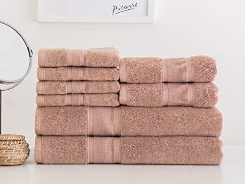 LUZIA 8 Piece Towel Set - 100% Turkish Cotton, Premium Quality - 2 Bath Towels 2 Hand Towels and 4 Washcloths (Latte)