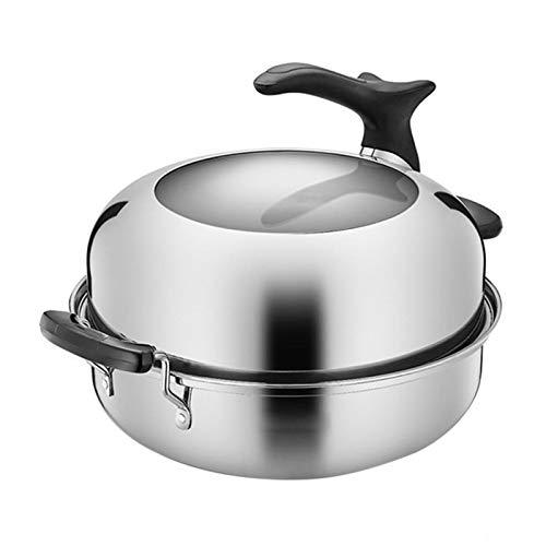 Nicoone Olla de vapor de acero inoxidable, utensilios de cocina de vapor de alimentos, olla de vapor de alimentos útil para estufa electromagnética, estufa de gas, estufa de gas