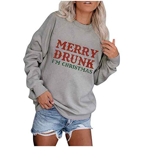 Weihnachten Pullover Damen, Teenager Weihnachtspulli Merry Drunk Im Christmas Weihnachtspullover Brief Druck Lustiger Christmas Sweatshirt Xmas Pulli Shirt Langarmshirt Top Bluse
