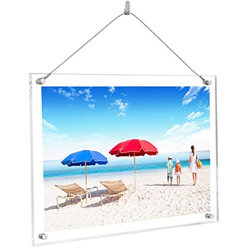 透明アクリルフォトフレーム 写真立て A3判額縁 スタンドタイプ 壁掛け 横縦置き兼用 写真フレーム 展示ピクチャー、絵画、賞状(A3)