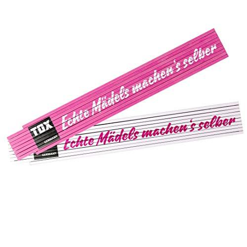 TOX 09969002 Meterstab 2 mtr. pink/weiß, mit Aufdruck Echte Mädels machen´s selber, Gliedermaßstab für echte Powerfrauen, 1 Stück Zollstock