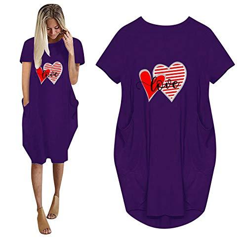 YANFANG Vestido Largo Manga Corta Mujer,Vestido de Cuello Redondo con Bolsillo de Manga Corta Informal con Estampado de Amor de Moda de Verano para Mujer para el día de San Valentín