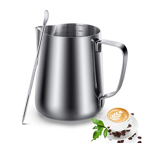 Milk Frothing Pitcher Jug & Frother Cup With Art Pen, Stainless Steel Milk Coffee Cappuccino Latte Milk Steamer Cup - Espresso Steaming Pitchers, Easy to Read Creamer Measurements Inside (12oz/350ML)