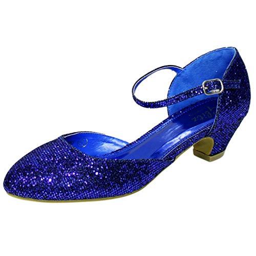 Rock on Styles 665 Damen Party Abend Brautkleid mit flachem Blockabsatz, Sandalen Pumps Knöchelriemen, Blau - Navy - Größe: 39 EU